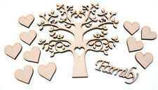 MDF Family Tree Kit with Tree with Heart cutout Hearts & Word Wooden Craft Blank