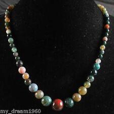Beautiful 6-14mm Multicolor Agate Beaded Gems Pendant Necklace
