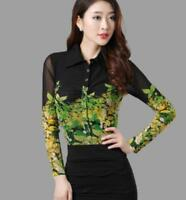 Womens Black Mesh Floral Printed Shirt Slim Fit Long Sleeves Career Blouses Hot
