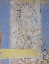 Jean-Marie DEROCHE né en 1950.Bleu-pâle,jaune-pâle.Acrylique.65x50.SBD.2002.