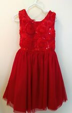 Girls Red Dress Size 6 - Dressy, Sequins, Roses, Sparkles, Beautiful! NWOT