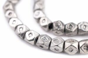 Silver Tuareg Cornerless Cube Beads 7mm Faceted White Metal 16 Inch Strand