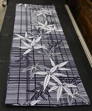 Japanese Cotton Fabric Dark Navy With White Bamboo Design 1518