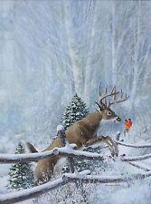 Richard Amundsen (American, 1928-1997) Oil painting, winter hunt scene w/ buck
