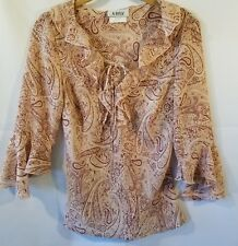 A. Byer Womens Sheer Blouse Medium Paisley print Ruffle neckline and sleeves D4
