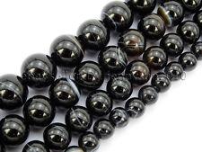 Natural Black with Stripe Onyx Gemstones Round Beads 15.5'' 8mm 10mm 12mm 14mm