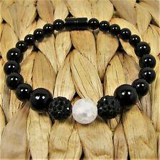 Handmade Bead Bracelet Black Jasper and White Crackle Bead Magnetic Clasp #36