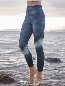 ATHLETA Elation Watercolor Stripe 7/8 Tight Leggings XXSP XXS PETITE Navy Yoga