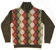 Northern Isles - EUC Men's Brown with Green, Rust Argyle Sweater zip neck Wool M