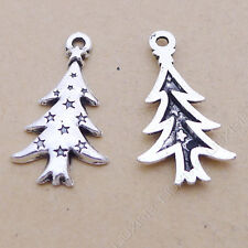 40pc Small Pendant Charm Christmas tree Pendant Tibetan Silver Accessories V632