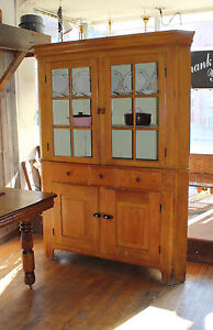 Antique Kitchen Corner Cabinet - Lovely two-piece stacking, circa 1890's