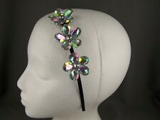 Clear AB faceted crystal flower thin skinny dressy headband hair band accessory