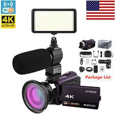 4K 1080P 48MP WiFi Digital Video Camera Camcorder DV + Lens + Mic+LED Light Set