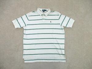 Ralph Lauren Polo Shirt Adult 2XL XXL White Green Striped Pony Cotton Mens A02 *