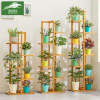 Flower Ladder Rack Wooden Planter Holder Garden Bonsai Display Storage Decor -)