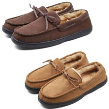 Men's Moccasin Slippers Thick Plush Lining Microsuede Slip On Shoes Loafer Flats