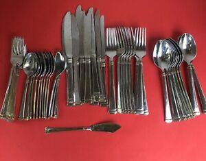 Mikasa Stainless Steel Flatware Gold Accent Harmony Lot of 57 Pieces