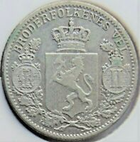 1899 NORWAY, silver 25 Ore grading Good FINE.