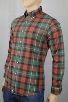 Polo Ralph Lauren Rust Green Plaid Button Down Custom Fit Dress Shirt NWT