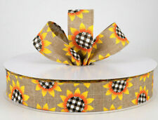 """1.5"""" wired ribbon fall black & white gingham check sunflowers linen canvas 5yds"""