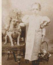 PUG W/ GIRL, VICTORIAN STUDDED DOG COLLAR, FLOWER BASKET, CDV, STUDIO PHOTO