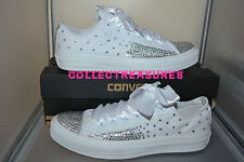 Custom Crystal Diamante Bling Wedding White MONO Converse Size UK 3 4 5 6 7 8 9