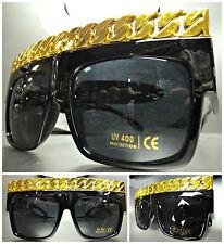 CLASSIC RETRO VINTAGE RAPPER HIP HOP SUN GLASSES Black & Gold Chain Link Frame
