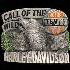 Harley Davidson Call Wild Bar Shield Wolves Wolf 1990s Vintage Belt Buckle
