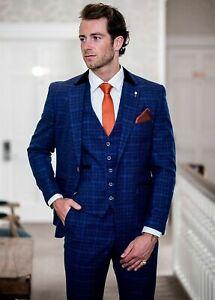 Mens Cavani Tweed Blue Check Velvet Collar Wedding Tailored Fit 3 Piece Suit