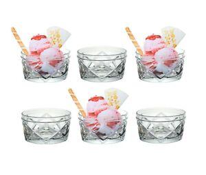 6 Ice Cream Bowl Sundae Glasses Snack Appetizer Dip Glass Starter Serving Dish