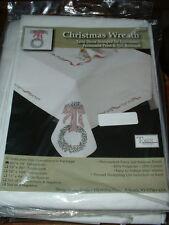 "Tobin Christmas Wreath Embroidery Christmas Tablecloth Kit #T201479 50""x70"" New"