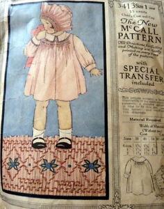 RARE VTG 1920s GIRLS SMOCKED COAT McCALL Sewing Pattern 1
