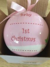 Girls Pink Babys First Christmas Bauble Tree Decoration Personalised