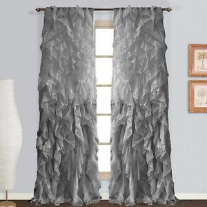 2pc Cascade Shabby Chic Sheer Vertical Ruffled Window Curtain Panel Drapes set