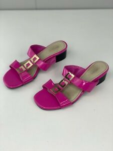 Portland Womens Tabitha Pink Patent Leather Slip On Low Heel Sandals Size 6