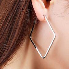 Women's Big Square  Silver Circle Hoop Earrings Women Fashion Jewellery Gift