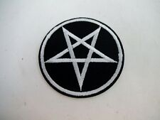 "Brand New 2.5"" Pentagram Pentacle Iron On Patch Black Metal GOTH Satan Baphomet"
