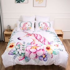 Pink Unicorn Duvet Quilt Cover Animal 3D Bedding Set Pillow Cases Single Double