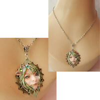 Fairy Necklace Face Pendant Jewelry Handmade NEW Sculpted NEW Clay Silver Green