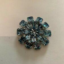 Vintage Pronged Light Blue Glass Brooch