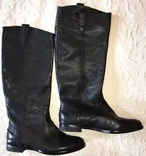 Madewell 9 Archive Leather Boots e0279 Black $298 Riding Flat Boots NEW