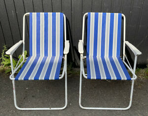 Pair of Vintage Retro Deck Chairs Folding Camping Garden Striped Campervan