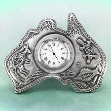 Australia Shape Souvenir Clock Australiana Gift, Australian Made Pewter