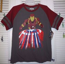 MARVEL CAPTAIN AMERICA STRIPED CIVIL WAR MEN'S T-SHIRT GRAY XL NEW WITH TAG!