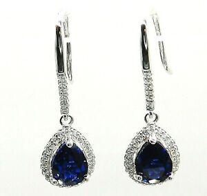 Silver Sapphire Earrings Diamond Cluster Pear Drop Hook 925 Sterling Silver