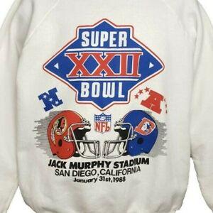 Super Bowl XXII Sweatshirt Vintage 80s 1988 Washington Denver Made In USA Large