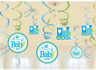 Welcome Baby Boy Hanging Swirl Decorations Baby Shower Party Supplies ~ 12pcs