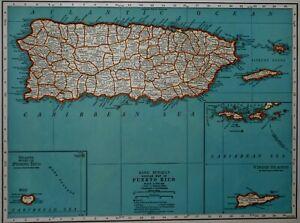 Vintage 1939 World War WW II Era Atlas Map Puerto Rico & Philippine Islands L@@K