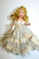 "Vintage Storybook 5"" Bisque Doll Blue Tulle Dress"