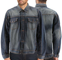 Men's 100% Cotton Dark Rinse Wash Button Up Denim Jean Empire Jacket ( 2XL)